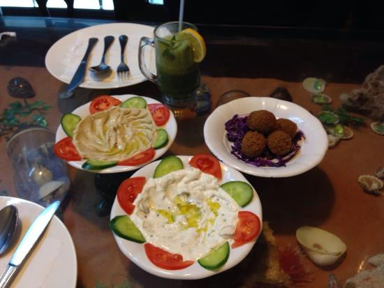 Syrian Palace Restaurant: Falafel, hummus and yoghurt with garlic and olives.