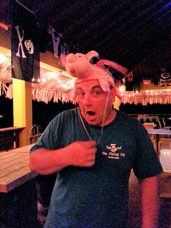 The Flying Pig : Only Patrick can pull off a pig hat!!