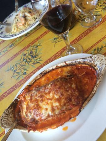 La Traviata: Delicious baked eggplant parmigiana that just melts in your mouth, paired with a lovely house Ca