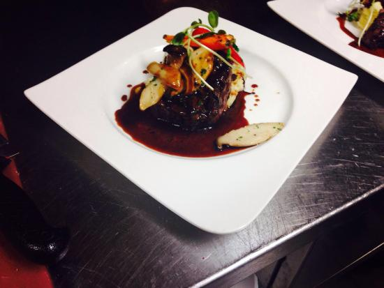 Rays 3rd Generation Bistro Bakery: Grilled beef tenderloin toped with king oyster mushrooms and red wine veal Demi!