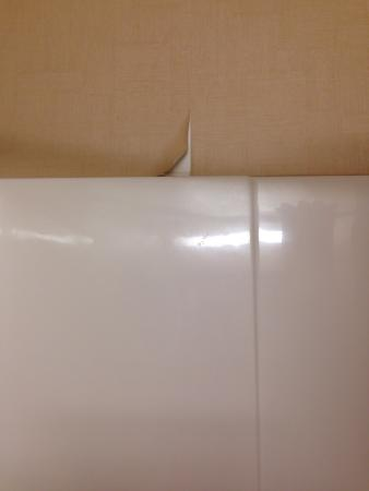 Country Inn & Suites by Radisson, Portage, IN: Peeling wallpaper in bathroom