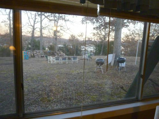 Pittsburg, MO: View of the property from our room showing the firepit and lake