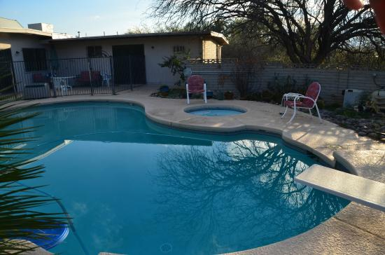 Bed and Bagels of Tucson: Pool area and hot tub at sunset