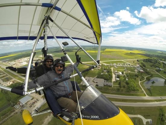 Steinbach, Canada: After take-off over the Mennonite Village Museum and Windmill.