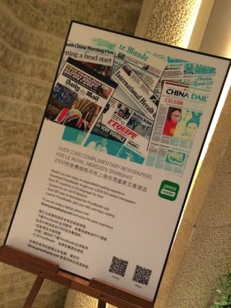 Le Royal Meridien Shanghai: PressReader available in the lounge.