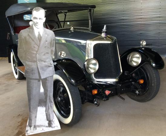 Bundaberg Botanic Gardens : Cut out photo of Bert Hinkler with the Armstrong Siddeley