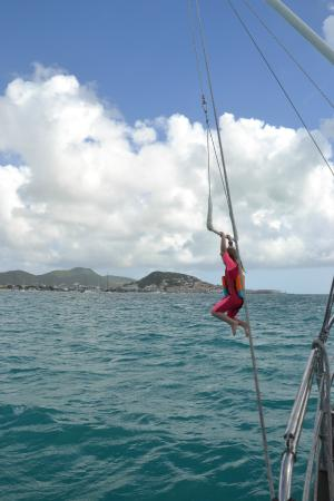 Simpson Bay, St Marteen/St. Martin: Swinging on the trapeze!