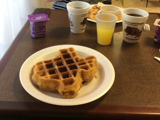 Sleep Inn & Suites: we loved the Texas-shaped waffles