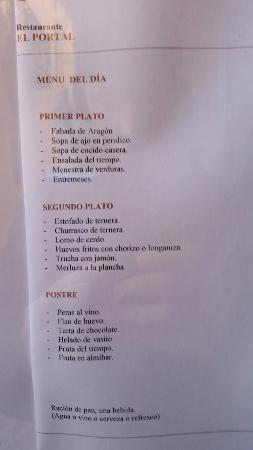 Menu 15 Euros 722015 Picture Of Restaurante El Portal