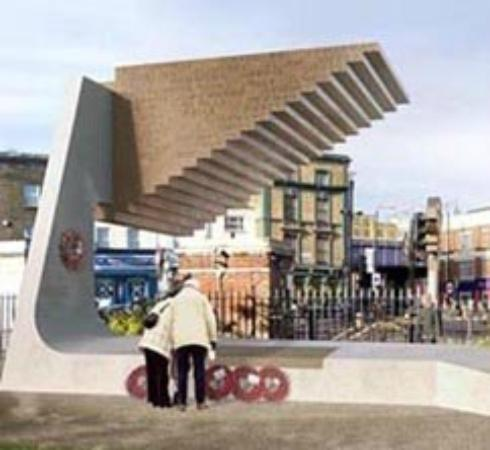 Bethnal Green : Artist impression. The main bit's up but the top won't go on 'til later this year.