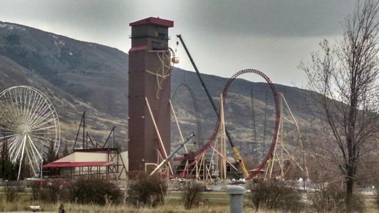 Lagoon Amusement Park: Cannibal roller coaster under construction