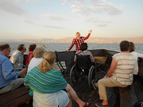 Israel4All Day Tours : crossing Sea of Galilee in wooden boat with Israel4All