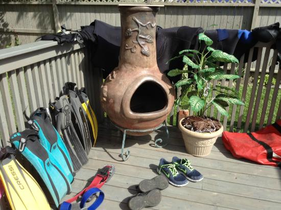 Sir Isaac Brock Bed & Breakfast: back deck great for drying dive gears