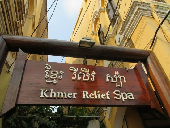 Khmer Relief Spa: Entrance sign over lane-way opposite Old Market