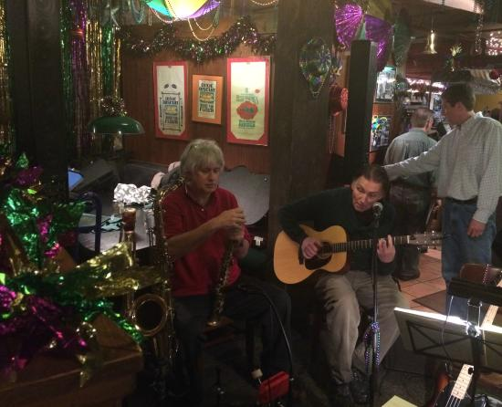 Mill Street Grill : The Boys warming up for some Cajun music...