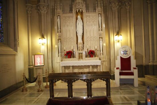 Cathedral Basilica of the Sacred Heart : While the Pope was at the Cathedral this was his seat and where he prayed