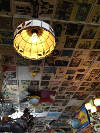 Sabula, IA: Ceiling at Bombfire Pizza