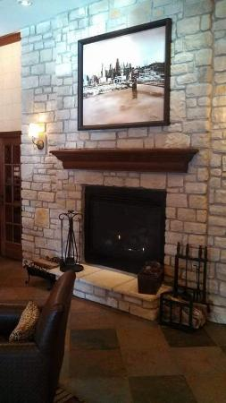 DoubleTree by Hilton Cincinnati Airport Hotel: Fireplace in Lobby