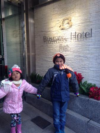 Tsukiji Business Hotel Ban: My kids infront of the hotel...