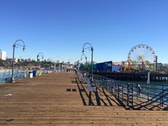 santa monica pier acress the street picture of ocean. Black Bedroom Furniture Sets. Home Design Ideas