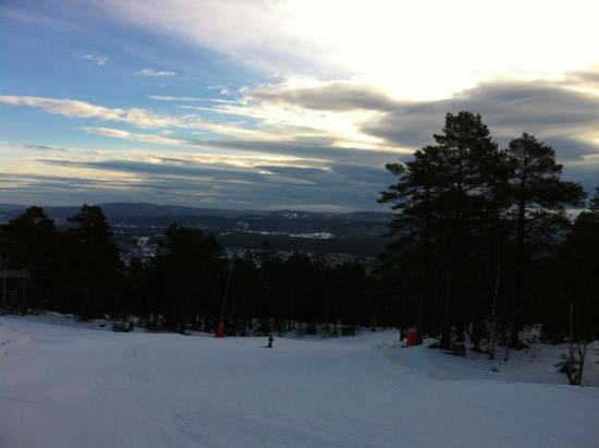 Kongsberg Skicenter from the top of the green run.