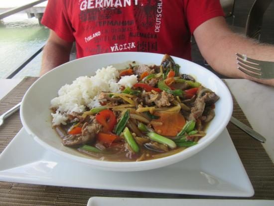 Panlaan Thai on the Bay: Curry pork stir fry with some of the side of rice that comes with it.