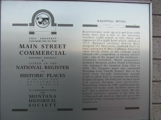 The Kalispell Grand Hotel: Historic District sign about Kalispell Grand Hotel