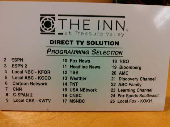 Inn at Treasure Valley: TV channels