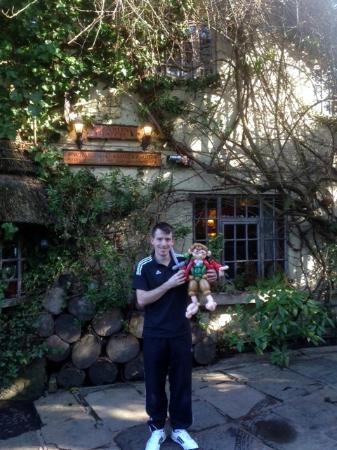 Wizards Thatch at Alderley Edge: Outside the front with the Hobbit