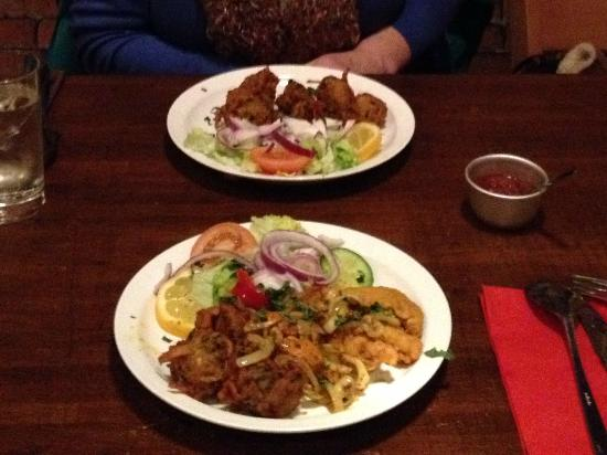 Mixed starter front and onion bhaji back picture of for Atithi indian cuisine