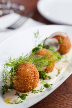Touro: leek and potato latkes