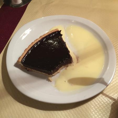 Pierre Chaude: Chocolate tart with creme anglaise