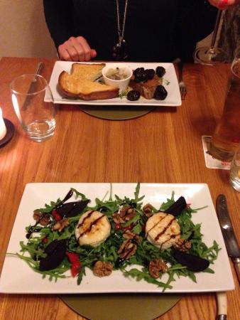 Restaurant at the Bull at Burford Hotel: Wild boar terrine & warm goats cheese with walnuts