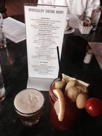 Village Hearthstone: Huge Bloody Mary with a beer chaser.  Waitresses idea but okay!