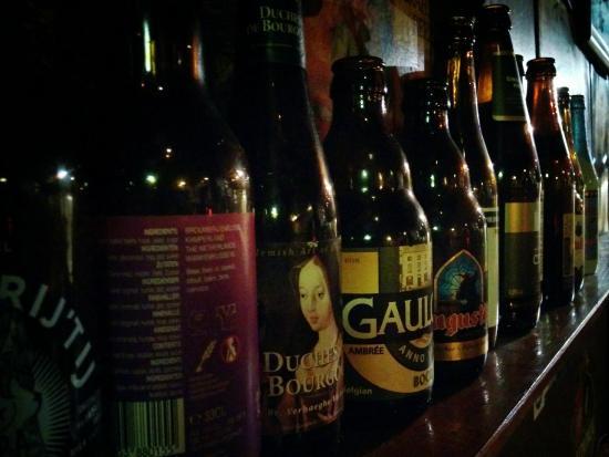 Cafe Gollem: Beer's bottles decoration