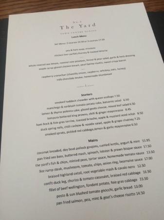No.3 The Yard Restaurant: Lunch menu on 20 Feb 2015.