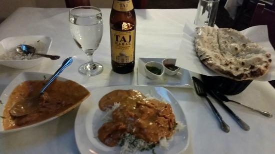 Shahi Palace: Butter chicken and Taj beer