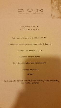 Menu Do Dia Picture Of D O M Gastronomia Brasileira Sao Paulo
