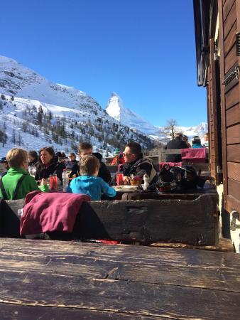 Berghaus Gruensee: Matterhorn from the sun deck of Gruensee