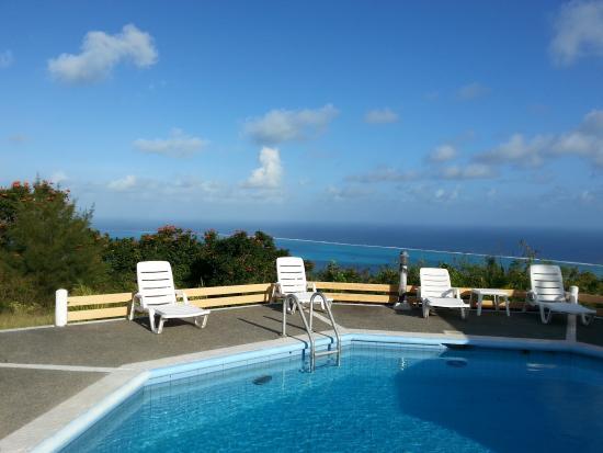 Heaven II: Вид на бассейн (за ним очень крутой склон и пальмы с бананами)