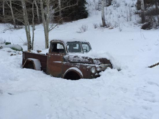 Bearcat Stables: This 1950s pickup in the yard is not the 1943 pickup proclaimed in the pictures on the walls of