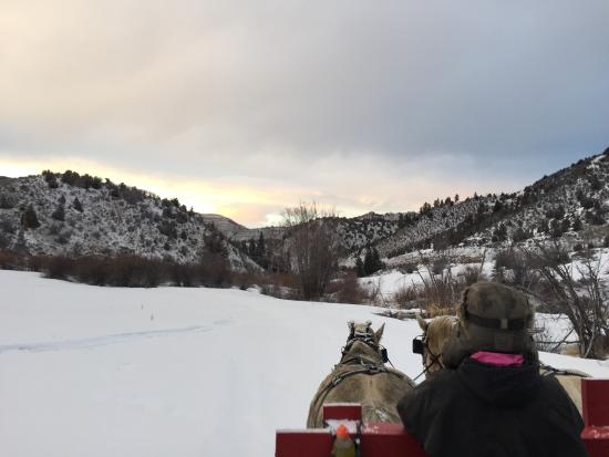 Bearcat Stables: View from the place, not what they depict on their website. 2/20/2015. It's in a valley, not on