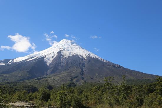 Petrohue Lodge: volcan osorno from desolacion trail