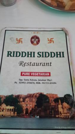 Riddhi Siddhi Restaurant: Menu card