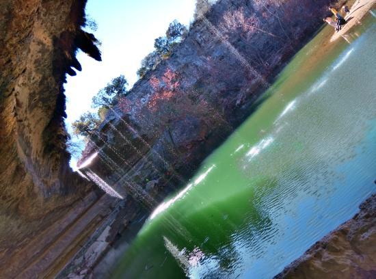 Hamilton Pool Preserve: the pool through the waterfall