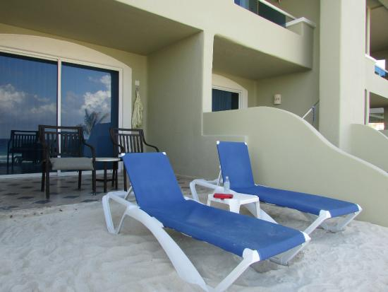 Panama Jack Resorts Cancun Our Own Personal Lounge Chairs On A Mini Beach Right Outside