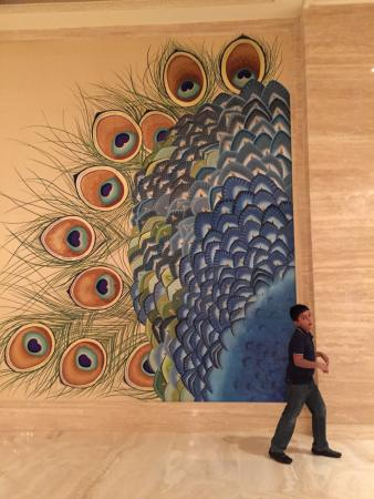 ITC Grand Chola, Chennai - a Luxury Collection Hotel: The picturesque peacock with my son