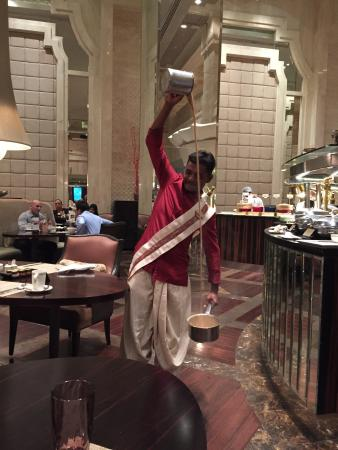 ITC Grand Chola, Chennai - a Luxury Collection Hotel: Love his filter coffee with two sachets of sugars
