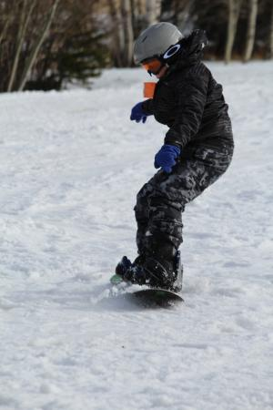 Terry Peak Ski Area: Charlie snowboarding for the first time.