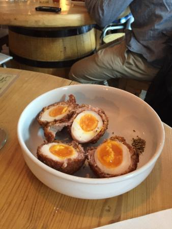 Bec Jaune Brewery: Hot scotch eggs with runny yolks.  How mouth watering is that?